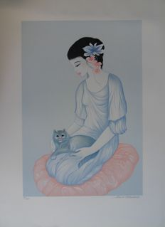 Mara Tran Long - Geisha with Persian Cat