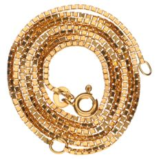 18 kt yellow gold Venetian link necklace, length:  51 cm
