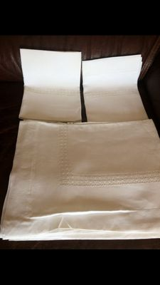 Antique pure linen double-bad sheets - entirely hand-worked - 1940s/50s