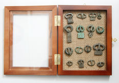 16 bronze buckles in the frame for the exposure Viking period- (16pcs)