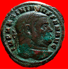 Roman Empire -  Maximianus I senior (305-308) large bronze Follis ( 7,24 g , 25 mm).  Carthago. CONSERVATO RES KART SVAE / PKA. Temple. Rare