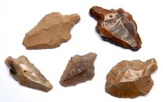 5 Palaeolithic silex Aterian points - 42-61 mm (5)