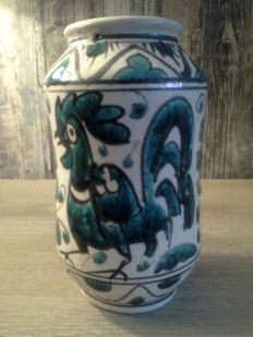 Luigi de Lerma (design & production) - Glazed earthenware Vase with decoration of a rooster.