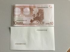 Test notes - 5 pieces - intaglio printing - 5 Euros and 10 Euros with serial numbers