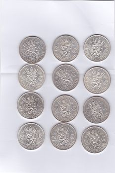 The Netherlands - 2½ 1959/1966 guilder Juliana (12 coins) - silver