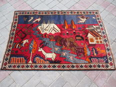 HAND KNOTTED HERATHI PICTORIAL RUG RUG 91 X 131 CM