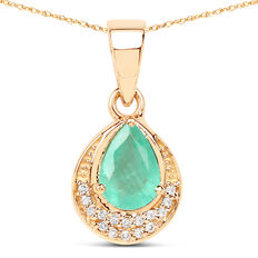 14 kt gold necklace with emerald pendant and diamonds. Emerald weighing 0.87 ct, diamonds 0.08 ct no reserve price