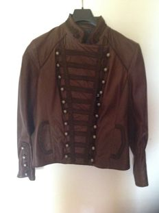 Brown leather jacket with hand-sewn embroidery