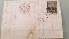 Italy – Historic States – Romagna – letter from Comacchio addressed to Ferrara in 1859 with a 1 bajocco stamp with a Comacchio mute cancellation.