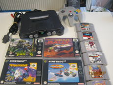 Original N64 incl controller and 10 games.
