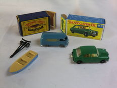 (Moko) Lesney Matchbox - Various scales - MG 1100 No.64b, Meteor Sportsman MK II & Trailer No.48a and Volkswagen Microvan No.34a