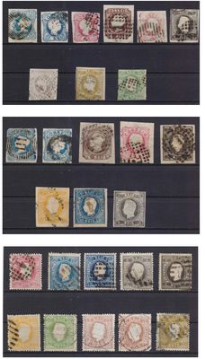 Portugal, 1853-1870 – Lot with various types of perforations.