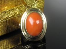 Precious corals old 8 kt gold solitaire ring - 60s