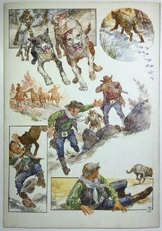 Roume, Carlos - original plate with a Western theme