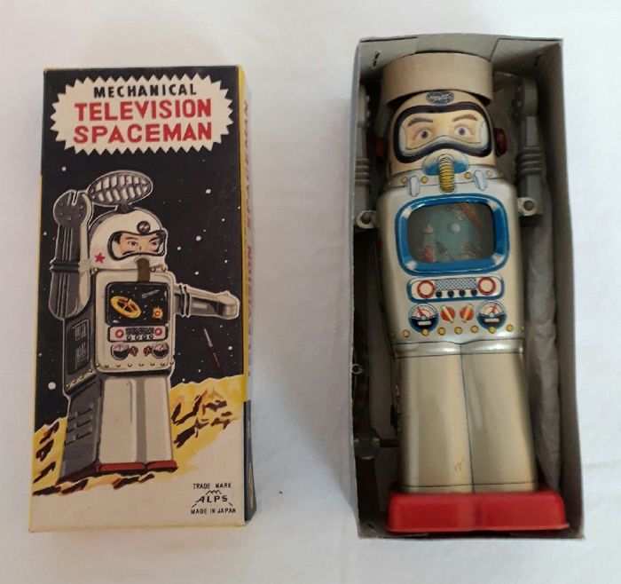 Alps, Japan - Height 13 cm - Tin Mechanical Television Spaceman