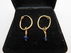 Roman solid gold earrings with glass beads - 23 mm (2)