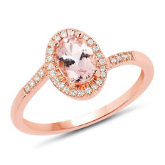 Gold ring with morganite and diamonds, morganite of 0.76 ct, diamonds 0.15 ct; .no reserve price.