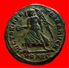 Roman Empire - Maxentius (306-312) bronze follis (5,03 grs. 25 mm.), from Ostia mint, A.D. 309-312. VICTORIA AETERNA AVG N / MOSTP, Victory. Scarce.