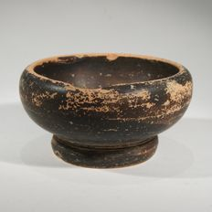 Greek black glazed salt, terracotta Diam 6  cm