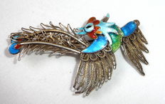 Silver antique brooch rooster motif with coloured enamel around 1900