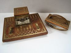 Erhard & Sohne - Art Deco desk set with feathered pen storage - inkwell and correction tape dispenser - wood, brass and glass
