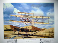Fine Art Print - Kitty Hawk, December 17, 1903 - The Wright Brothers - (Great Moments in Aviation)