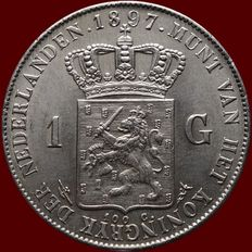 The Netherlands, 1 guilder, 1897, Wilhelmina of the Netherlands, silver
