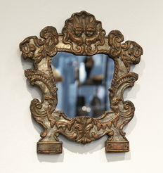 A silver plated copper mirror - repoussé on wood - probably Austria - 18th century