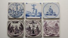 Biblical scenes on 6 antique tiles and 3 new tiles with crucifixion