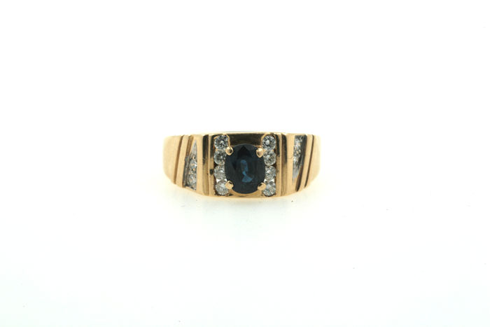 750 women's gold ring with sapphire and brilliants 0.25 ct, VVSI TW
