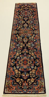 Fine Persian carpet Kashmar 2.05 x 0.50 blue hand-knotted in Iran – high quality new wool – Oriental carpet TOP CONDITION