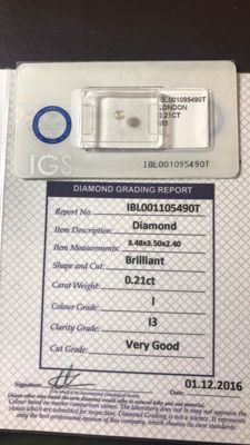 Brilliant cut diamonds (Colour: G-H-I, clarity: I2/3) totalling 2.30 ct – Single lot of 10 diamonds in blister packs, with certificate (as shown in the photos) – The stones are not to be sold individually