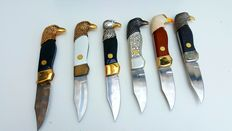 Collection of 6! 24CT gilt & silver-plated Collector Knives-Franklin Mint