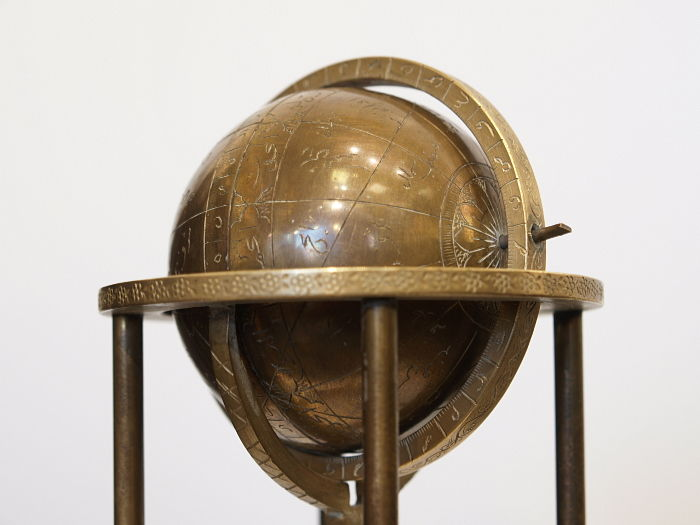 Magnificent Globe, Arabic, around 1910, Brass, antique