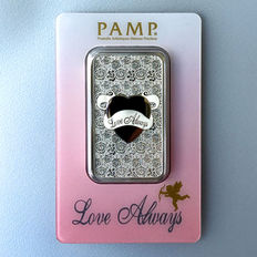 Switzerland - Pamp Suisse 1 oz 999 silver bar silver - Always Love - great gift or investment