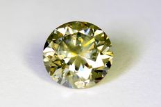 Diamant - 1.06 ct  Fancy Greenish Yellow- SI2 - Zonder Reserve Prijs