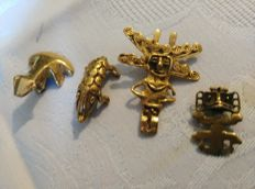 4 pre-Colombian pendants from cm 3 ca. to cm 1.2