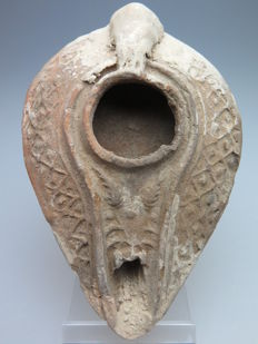 Byzantine terracotta oil lamp decorated with ears (fertility)- 10 cm