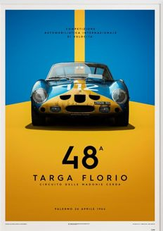 Limited edition Ferrari Collection fine art print - Ferrari 250 GTO – Targa Florio Palermo 26 April 1964 - 70 x 50 cm Limited edition.