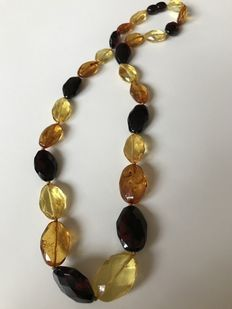 Faceted Baltic Amber necklace, multicolour, 21 gr. No Reserve