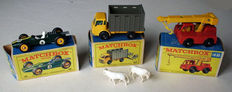 Lesney Matchbox - Various scales - Cattle Truck No.37, Iron Fairy Crane No.42 and Lotus Racing Car No.19