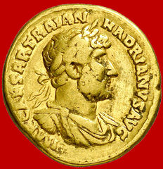 Roman Empire - Hadrian (117-138 A.D.) gold aureus (7,15 g. 19 mm.), Rome mint, A.D. 119-123. PM TR P COS III. Roma seated holding Victory. Rare.