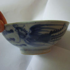 Chinese blue and white porcelain rice bowl with phoenix decoration - 133 mm