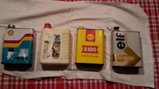 Lot of 4 oil cans 2 Shell, 1 Total and 1 Elf