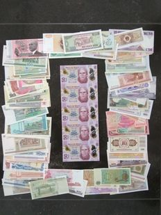 World - Collection of 100 different banknotes from all over the world + Mexico 50 pesos 2013 (5 pieces) uncut