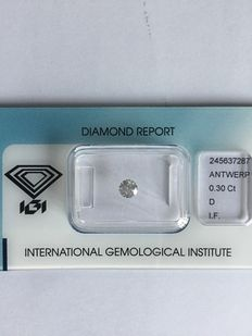 0.30 ct brilliant cut diamond, D IF.