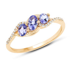 Gold ring with three tanzanites and diamonds of 0.12 ct No reserve price