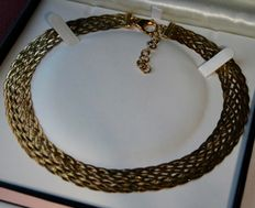 Vintage Gorgeos Wide braided necklace approx. 14,4mm and 48cm, very nice.
