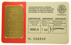Fine gold bar - ARGOR, 1 oz.  999.9, bar no. 026969 plastic wrapping