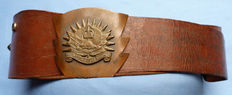 WW1 Canadian Westminster Regiment Trench Art Leather Belt and Buckle